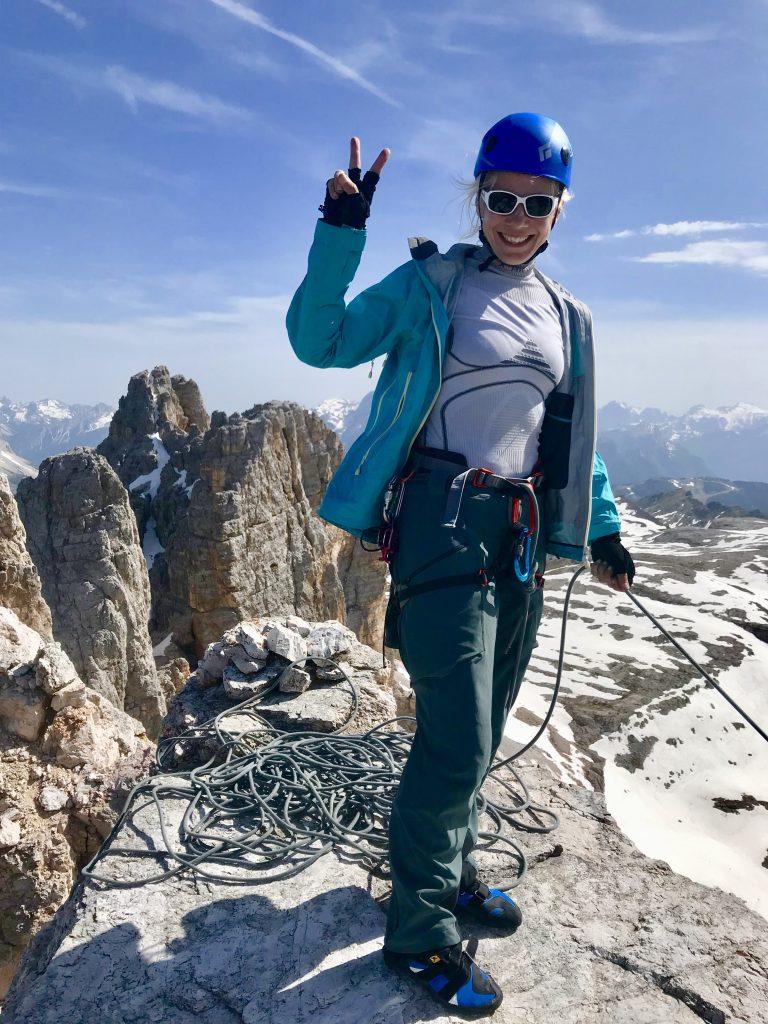 Janiina Kauppinen Cima d'Ambrizzolan huipulla
